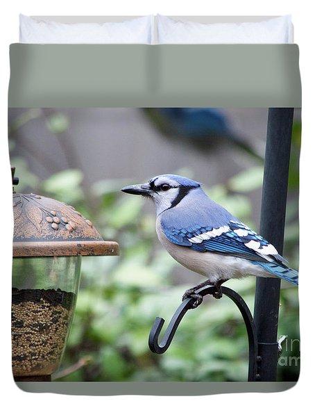 A Happy Blue Bird  Duvet Cover