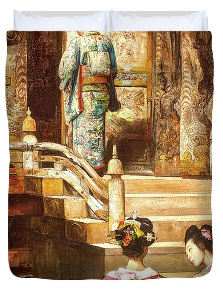 A Japanese Princess Going To Church Duvet Cover