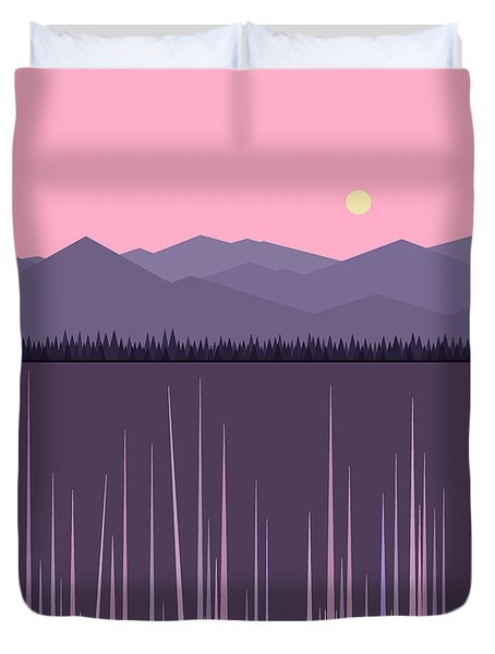 A Lake In The Mountains -  Pink Sky Duvet Cover