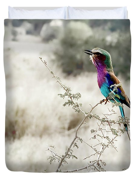A Lilac Breasted Roller Sings, Desaturated Duvet Cover