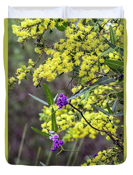 Duvet Cover featuring the photograph A Little Bit Of Purple Coral Pea by Elaine Teague