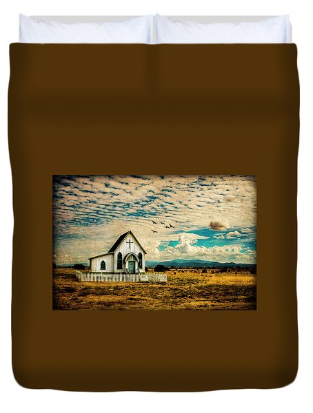 A Lone Prairie Church Duvet Cover