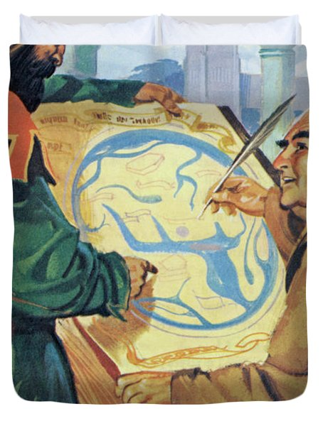 A Monk In The Middle Ages, Drawing A Map Duvet Cover