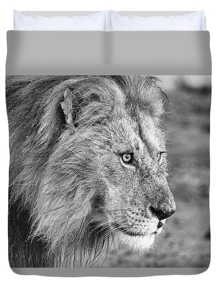 A Monochrome Male Lion Duvet Cover