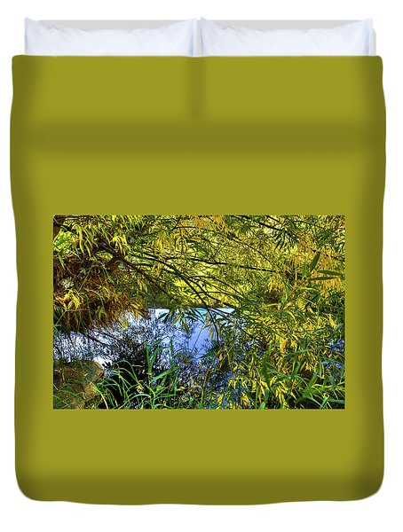 Duvet Cover featuring the photograph A Peek At The River by David Patterson