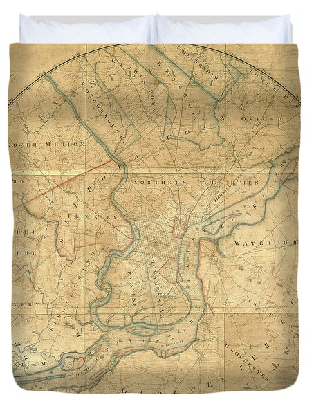 A Plan Of The City Of Philadelphia And Environs, 1808-1811 Duvet Cover