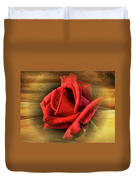 A Red Rose On Gold Duvet Cover