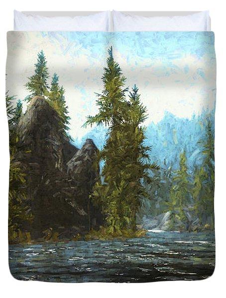 A River Flows Thru It Duvet Cover