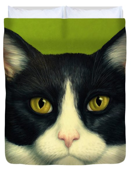 Duvet Cover featuring the painting A Serious Cat by James W Johnson