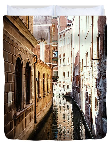 A Shadow In The Venetian Noon Narrow Canal Duvet Cover