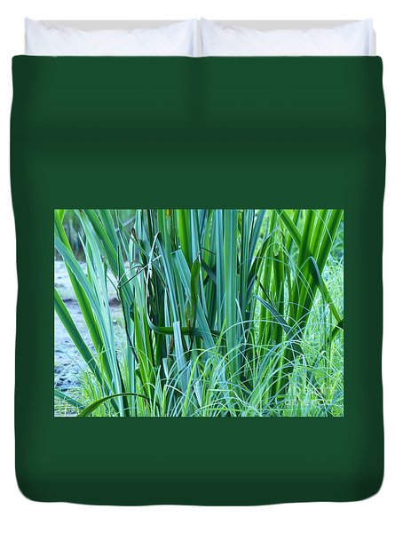 Duvet Cover featuring the photograph A Shock Of Green by Rosanne Licciardi
