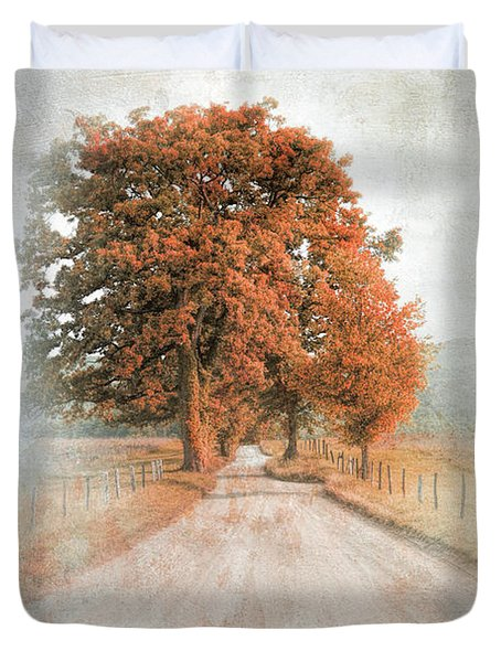 A Solitary Road In Autumn Duvet Cover