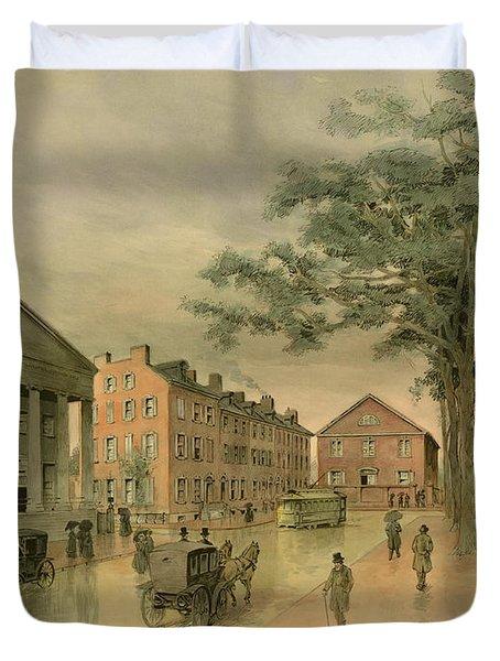 A Southwestern View Of Washington Square Duvet Cover