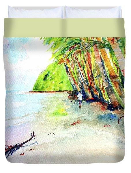A Stroll On Batibou Beach Dominica Duvet Cover
