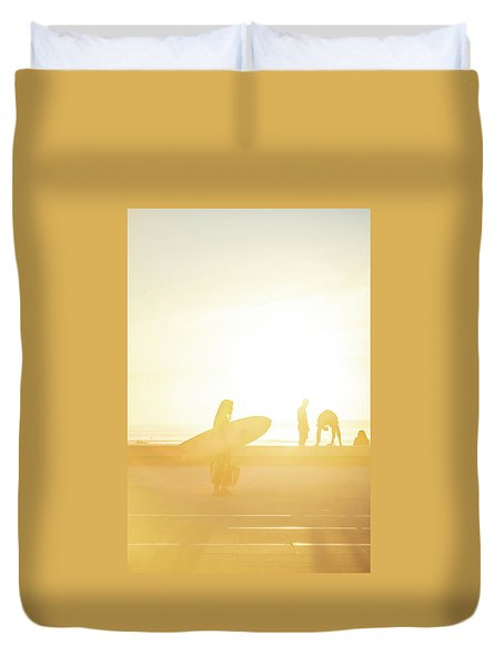 Duvet Cover featuring the photograph A Surf Board by Bruno Rosa