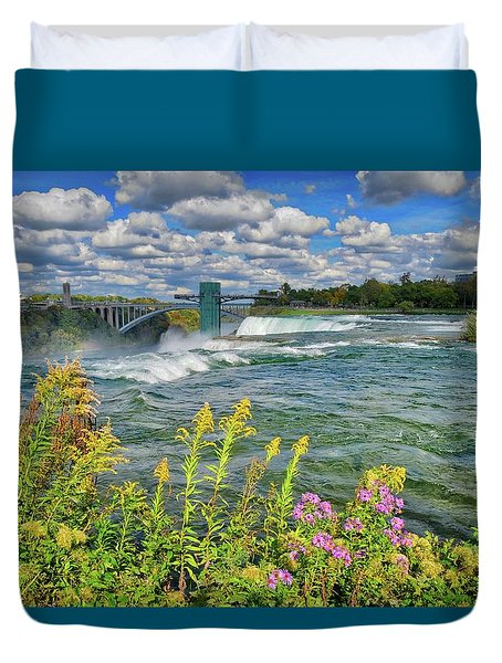 Duvet Cover featuring the photograph A Touch Of Summer In Fall At Niagara Falls, New York by Lynn Bauer