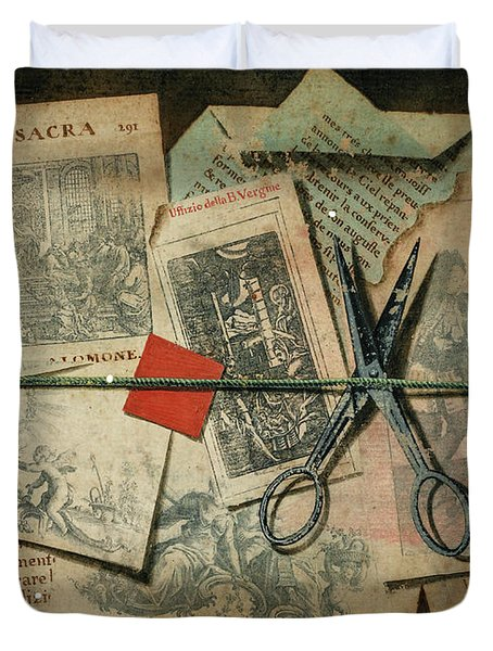 A Trompe L'oeil With Pince-nez, Pages From A Book And A Quill Pen, A Similar Subject , 1792 Duvet Cover