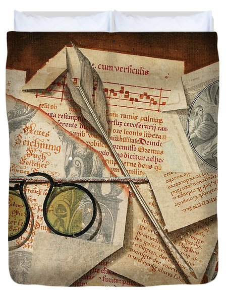 A Trompe L'oeil With Pince-nez, Pages From A Book And A Quill Pen Duvet Cover