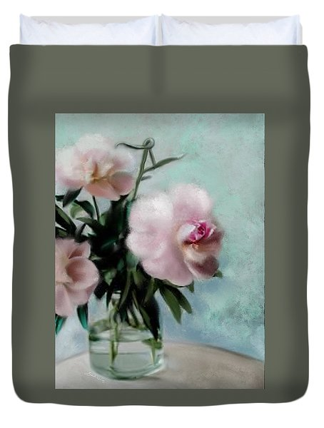 A Vase Of Peonies Duvet Cover