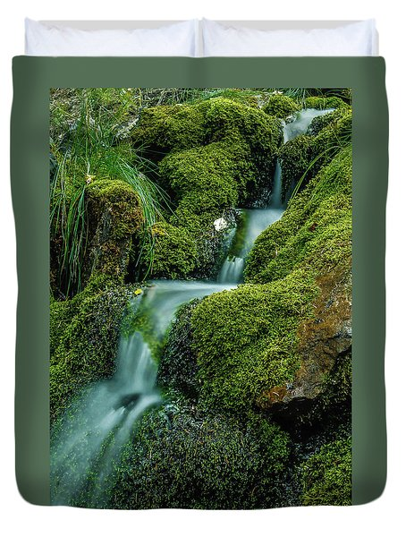 A View From The Side Of The Bow Valley Parkway, Banff National P Duvet Cover