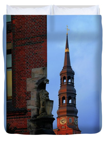A View Of The Church Of St. Catherines From The Speicherstadt Duvet Cover