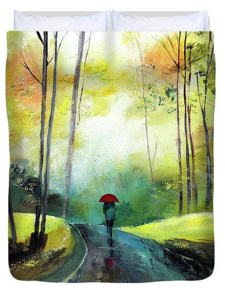 A Walk In The Rain Duvet Cover