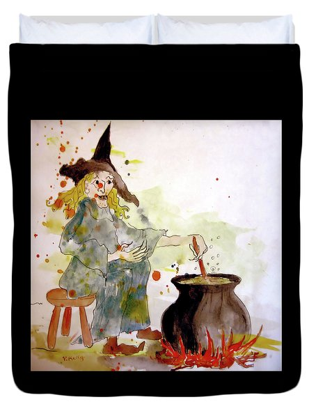 Duvet Cover featuring the painting A Witch Called Zee by Valerie Anne Kelly