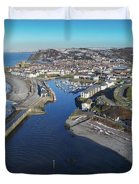 Aberystwyth Harbour From The Air In Winter Duvet Cover