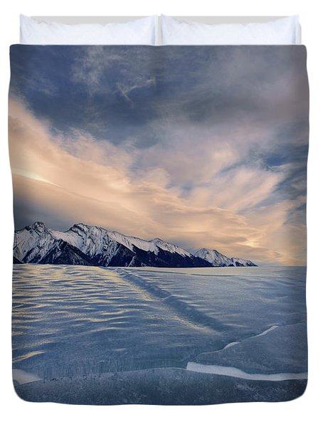 Abraham Lake Ice Wall Duvet Cover