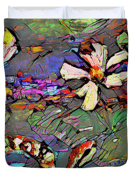 Abstract Art Copperhead Snake And Lotus Duvet Cover
