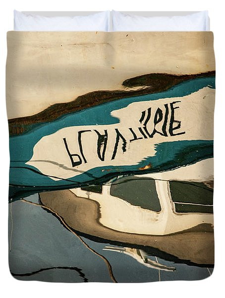 Abstract Boat Reflection Vi Color Duvet Cover