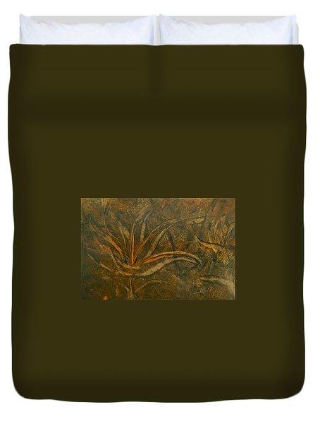 Abstract Brown/orange Floral In Encaustic Duvet Cover
