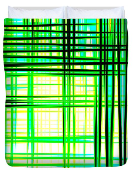 Abstract Design With Lines Squares In Green Color Waves - Pl409 Duvet Cover