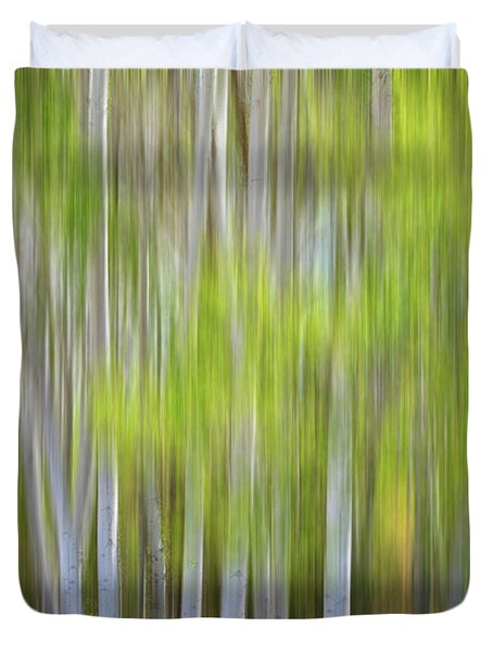 Abstract Forest In Motion Blur Duvet Cover