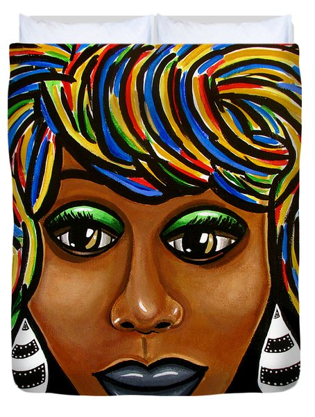 Abstract Art Black Woman Retro Pop Art Painting- Ai P. Nilson Duvet Cover