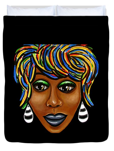 Abstract Art Black Woman Retro Pop Art Painting- Ai P. Nilson Duvet Cover