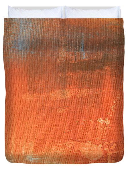 Abstract In Orange Duvet Cover