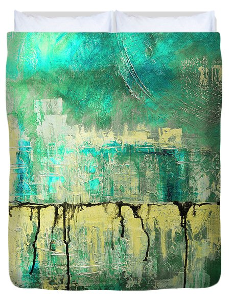 Abstract In Yellow And Green 2 Duvet Cover