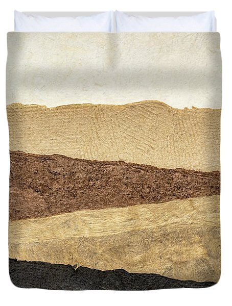 Abstract Landscape In Earth Tones Duvet Cover
