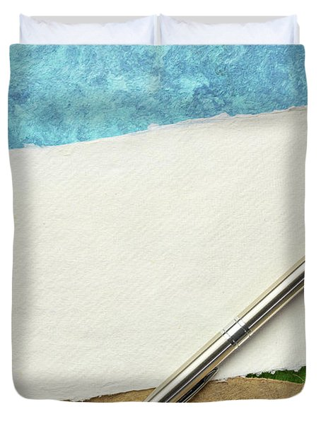 Abstract Landscape With A Blank Note Duvet Cover