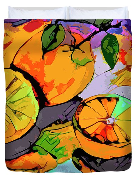 Abstract Oranges Modern Food Art Duvet Cover