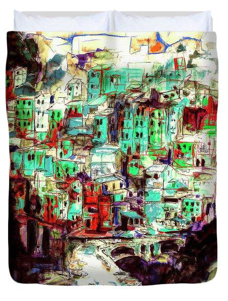 Abstract Riomaggiore Cinque Terre Art Duvet Cover