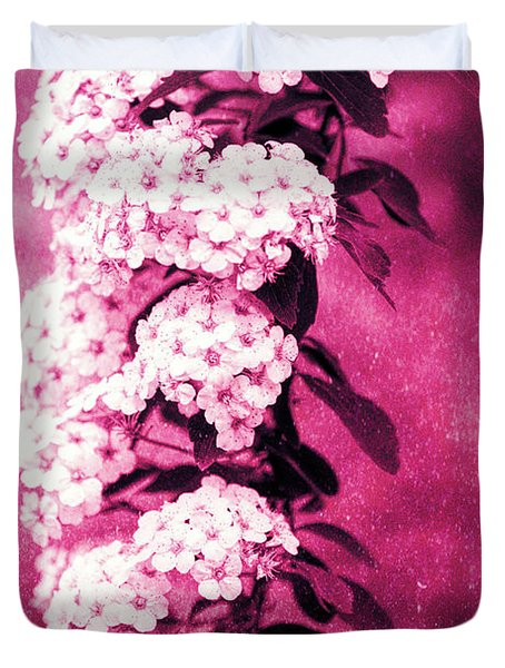 Abstract Spirea Cascade In Red Duvet Cover