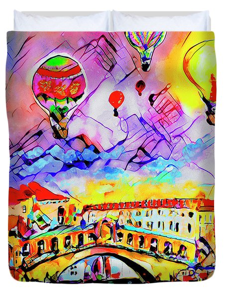 Abstract Venice Rialto Bridge Balloons Duvet Cover