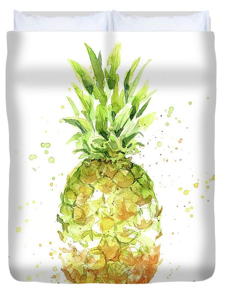 Abstract Watercolor Pineapple Duvet Cover