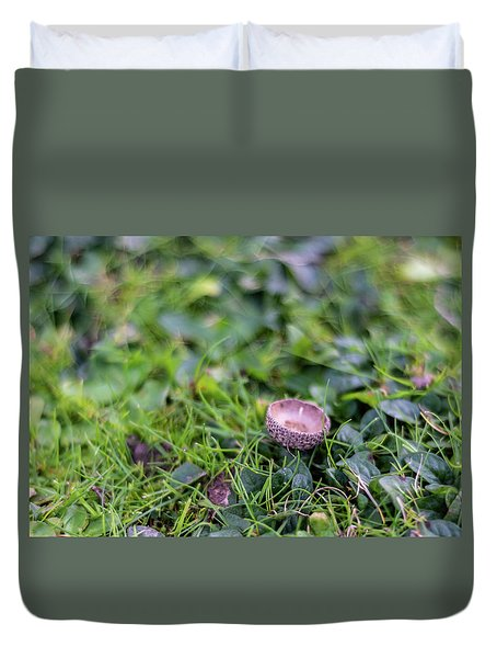Duvet Cover featuring the photograph Acorn Cup On Grass by Scott Lyons