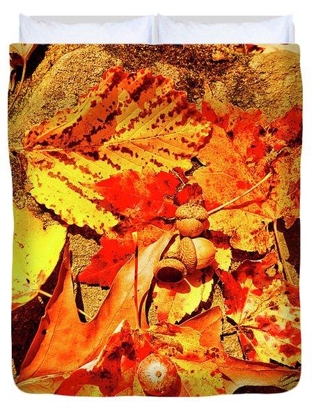 Acorns Fall Maple Oak Leaves Duvet Cover