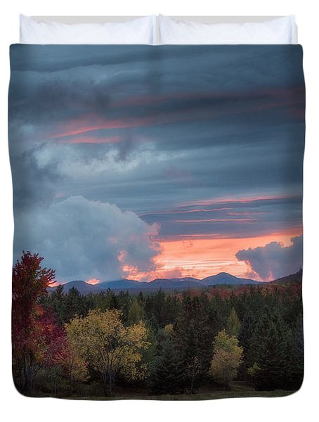 Adirondack Loj Road Sunset Duvet Cover