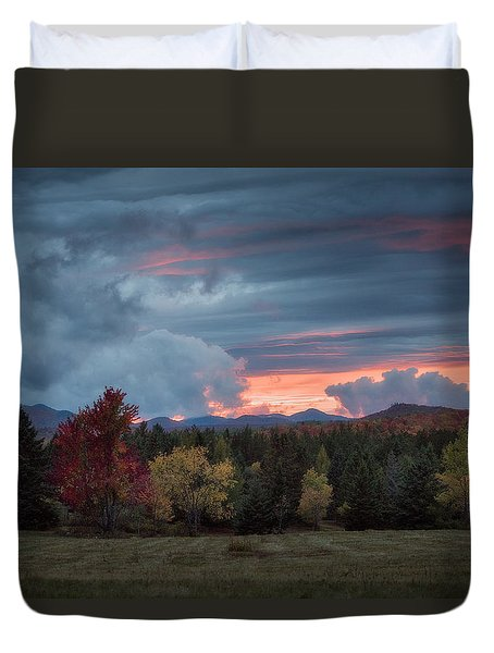 Adirondack Loj Road Sunset Duvet Cover