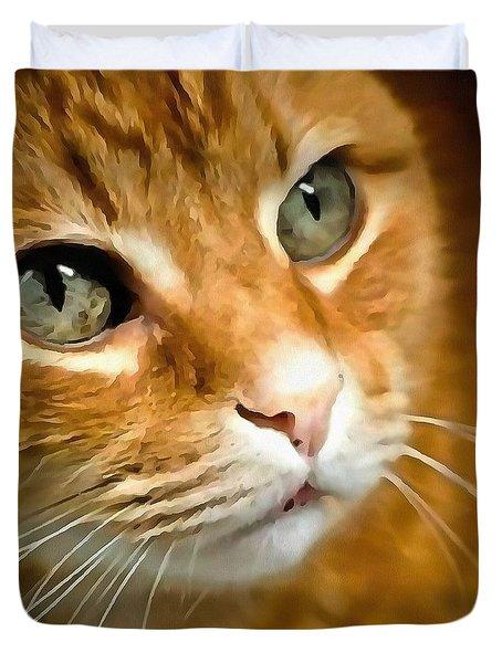 Adorable Ginger Tabby Cat Posing Duvet Cover